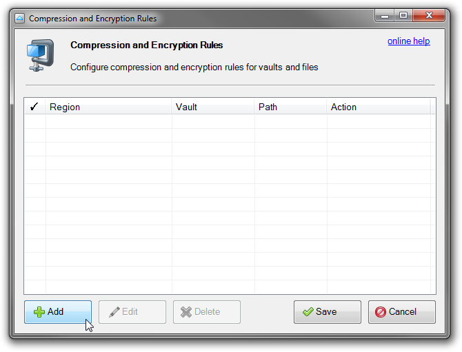 Compression and Encryption rules editor