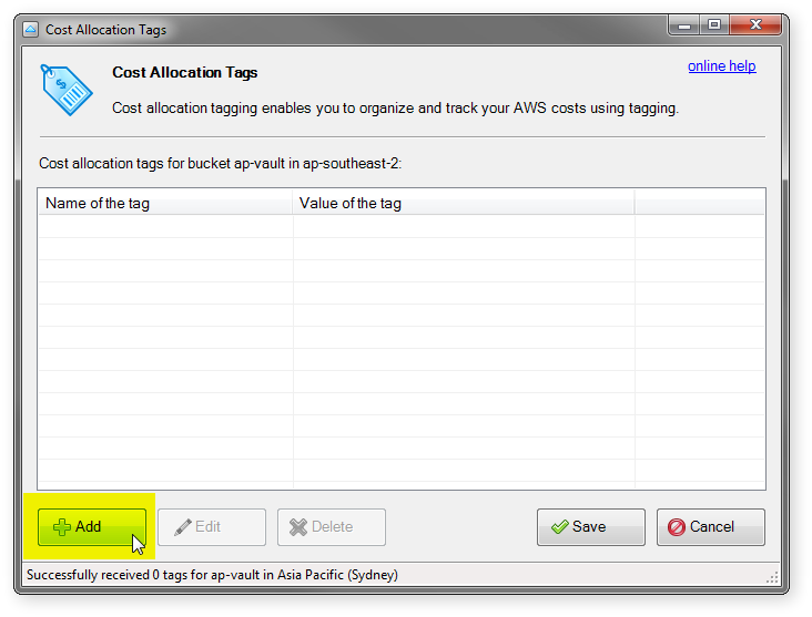 cost allocation tags dialog