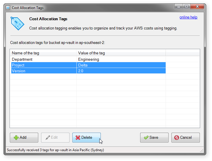 how to delete cost allocation tags