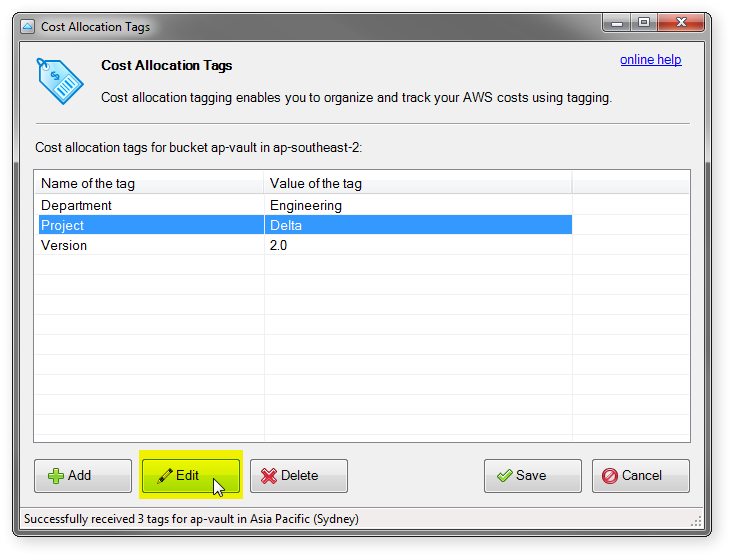 edit cost allocation tag button