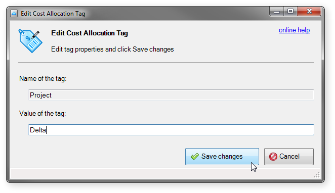 edit Cost Allocation Tag dialog