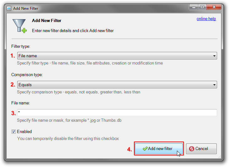 Add New Filter dialog