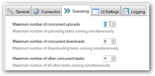Configure the number of concurrent uploads