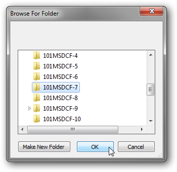 Select the folder to upload